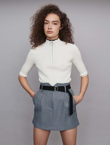 Short belted plaid skirt : Skirts color Blue