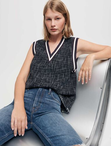 Tweed-style top with contrasting bands : Tops color Navy