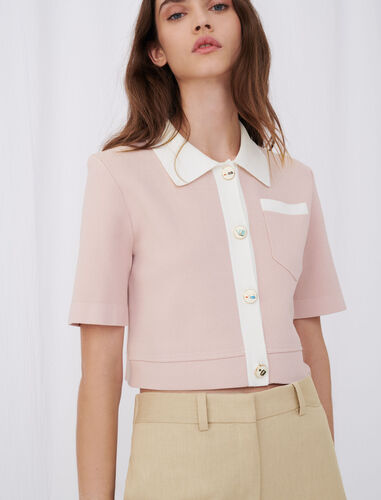 Cropped cardigan with contrasting bands : Cardigans color Pale Pink