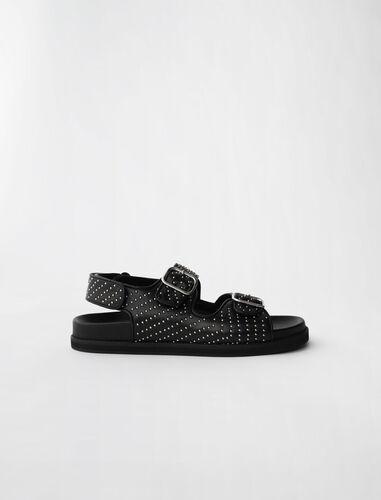 双皮带银钉凉鞋 : 靴子及乐福鞋 顏色 黑色/BLACK