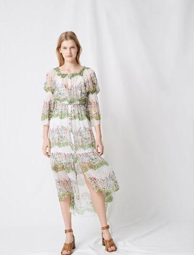Printed silk long dress : Dresses color Ecru / Green