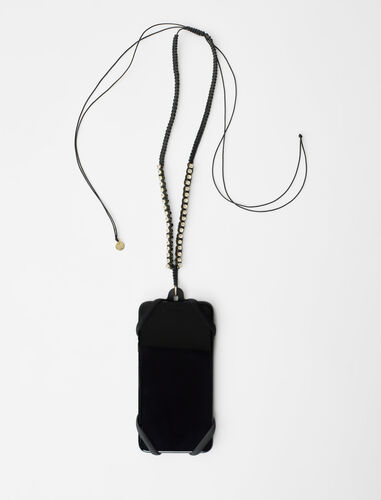 Macramé and rhinestone cord phone holder : Other accessories color Black