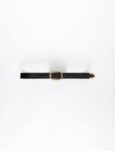 Black croc-effect embossed leather belt : Belts color Black