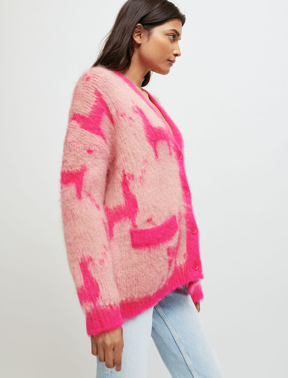 Mohair cardigan with llama pattern : Sweaters & Cardigans color Pink