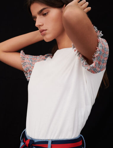 Jersey T-shirt with tweed sleeves : T-Shirts color Ecru