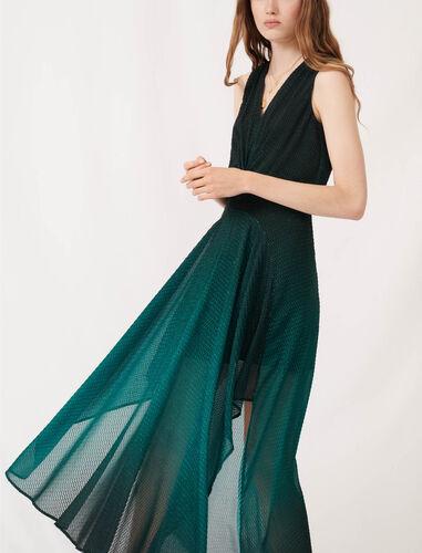 Printed jacquard scarf dress : Dresses color Dark green