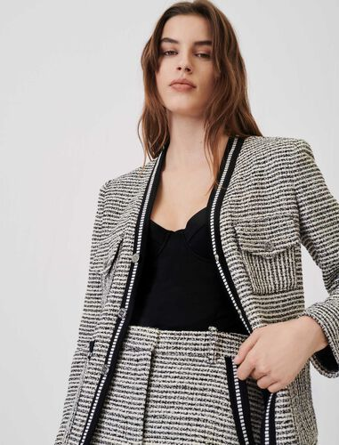 Marl and contrasting tweed-style jacket : Coats & Jackets color Black / White