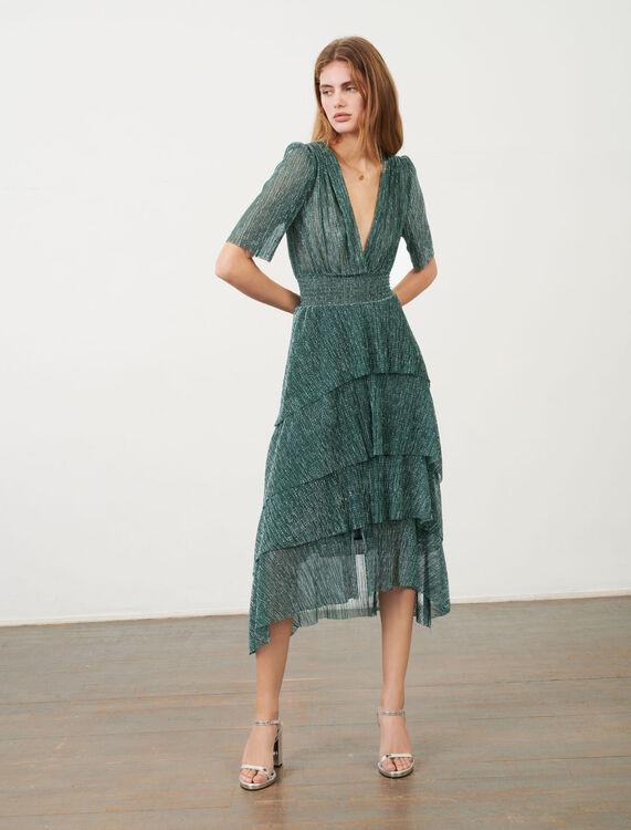 Stretch lurex fabric dress with ruffles - Dresses - MAJE