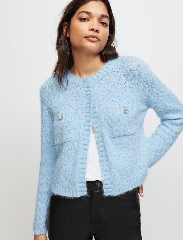 Fancy knit cardigan : Sweaters & Cardigans color Blue Sky