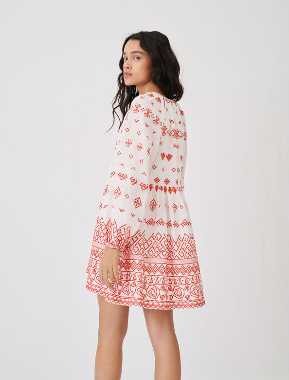 Baby-doll style fully embroidered dress : Dresses color Red