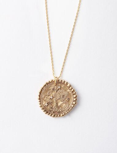 立体雕刻图案项链 : 首饰 顏色 古铜色/OLD BRASS