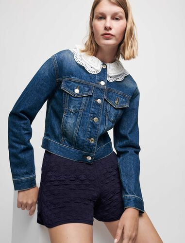 Denim jacket with embroidered collar : Coats & Jackets color Blue