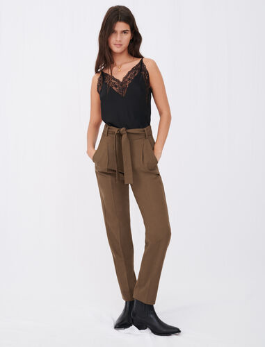 Straight-cut, belted suit trousers : Trousers color Brown