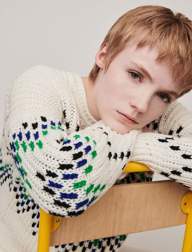 Sweater with fancy motifs : Sweaters color Ecru