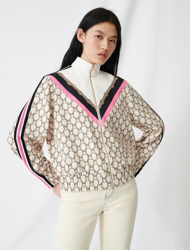 Zip-up sweatshirt with all-over monogram : Coats & Jackets color Ecru