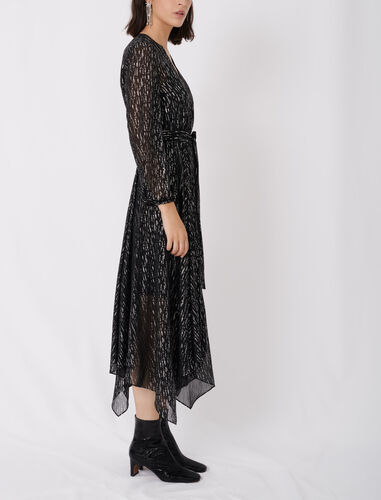 Belted muslin dress with scarf print : Dresses color Black/Glitter