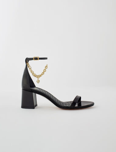 Medium heel sandals with gold-tone chain : All Shoes color Black