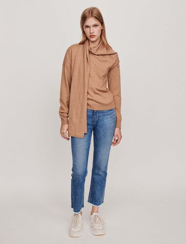 Knotted crewneck sweater : Sweaters color Camel