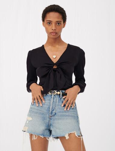 Silk satin tie top : Tops color Black