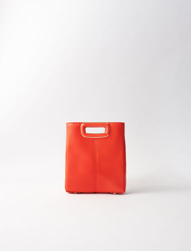 Leather mini M bag with chain : M Skin color Red