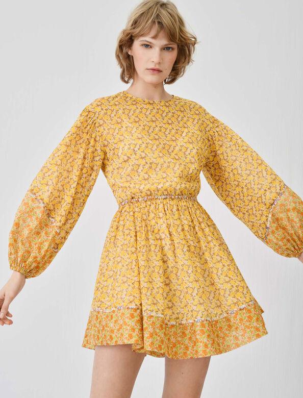 Printed cotton voile dress : Dresses color Orange