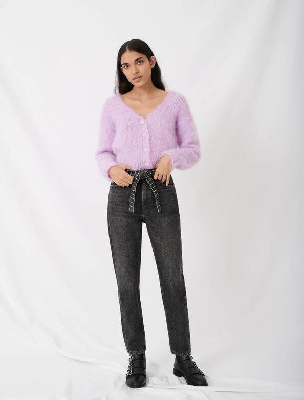 Mom jeans with rhinestone belt : Jeans color Anthracite
