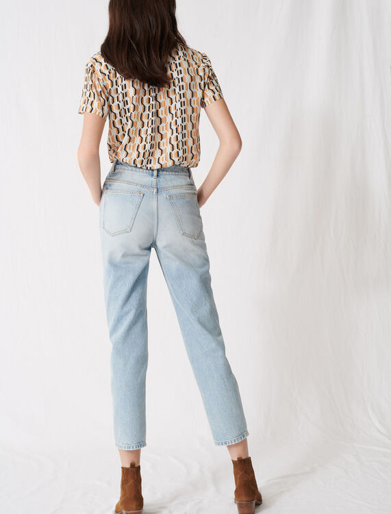 Mum-style high-waisted jeans : Jeans color Blue Sky