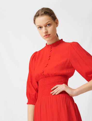 Mid-length smocked red dress : Dresses color Red
