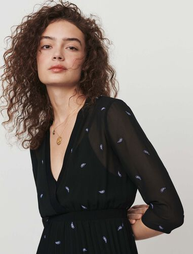Pleated dress with embroidered cashmere : Dresses color Black