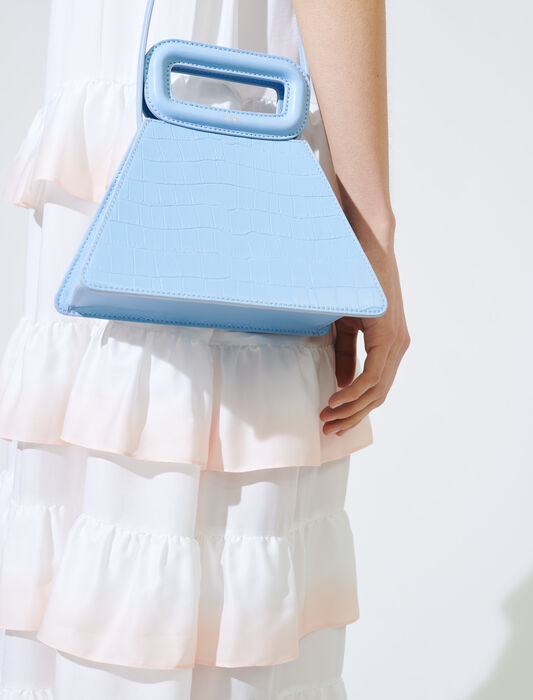 Crocodile-effect leather pyramid bag : M Bag color Blue Sky