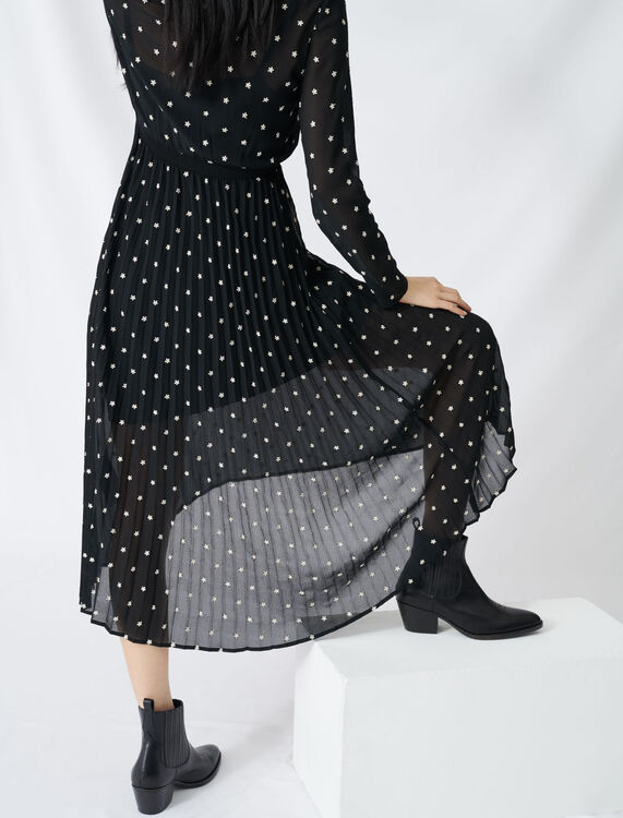 Long pleated dress with embroidery : Dresses color Black