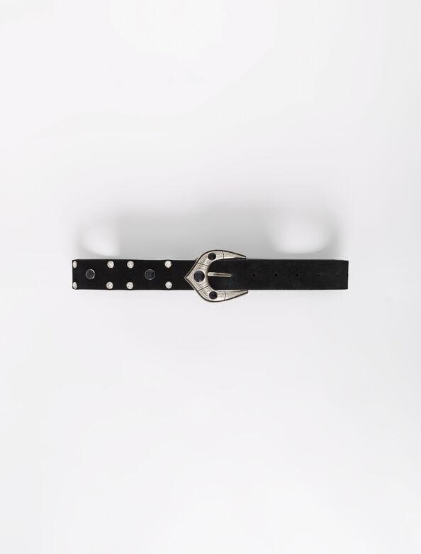 Berber-style suede leather belt : Belts color Black