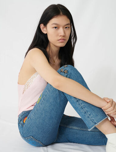 Straight jeans with embroidered patches : Jeans color Blue