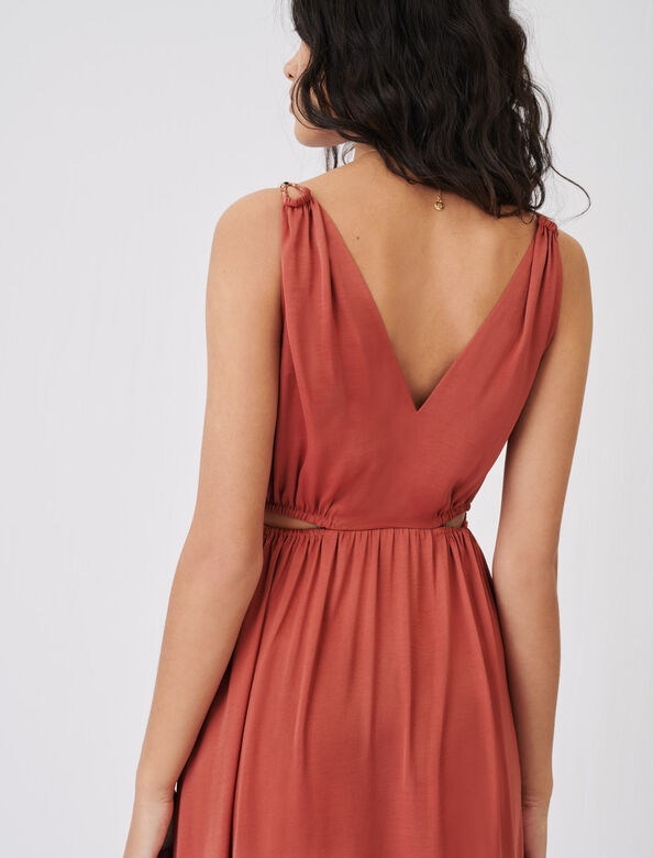 Satin dress with braided straps : Dresses color Terracota