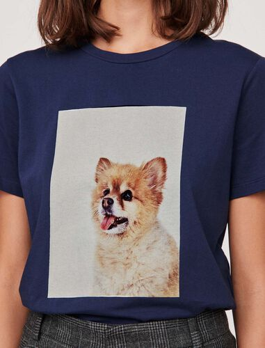 """T-shirt with """"chien"""" print : T-Shirts color Dark Navy"""