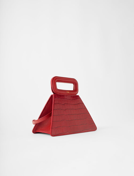 Pyramid bag with embossed leather handle : M Bag color Carmine red
