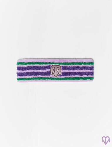 Striped terry cloth and lurex headband : Limited Collection: Maje x Varley color Mauve