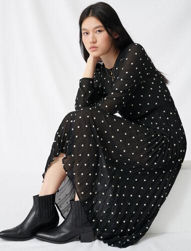 褶饰刺绣连衣裙 : 连衣裙 顏色 黑色/BLACK