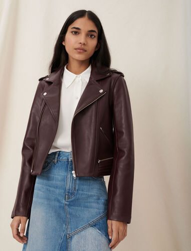 Leather biker-style jacket : Coats & Jackets color Dark burgundy