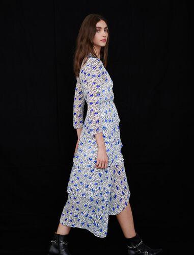 Asymmetric dress in printed muslin : Dresses color White Purple