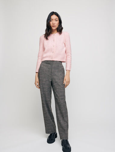 Wide-legged checked trousers : Trousers color Grey
