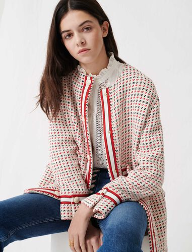 Short preppy tweed-style coat : Coats & Jackets color Ecru/ Red/ Navy