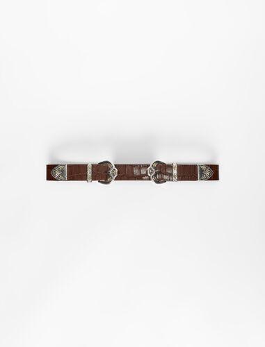 Western double buckle belt : Belts color Black