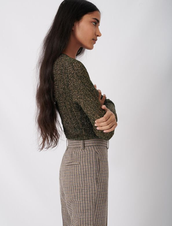 Low-cut lurex knit sweater : Sweaters color Black/gold