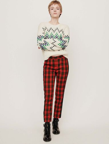 Velvet piped plaid pants : Trousers color Red