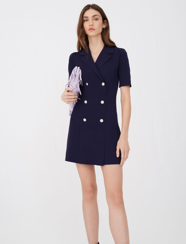 Blazer-style knit dress : Dresses color Navy
