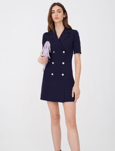 西装外套式针织连衣裙 : 连衣裙 顏色 深蓝色/NAVY