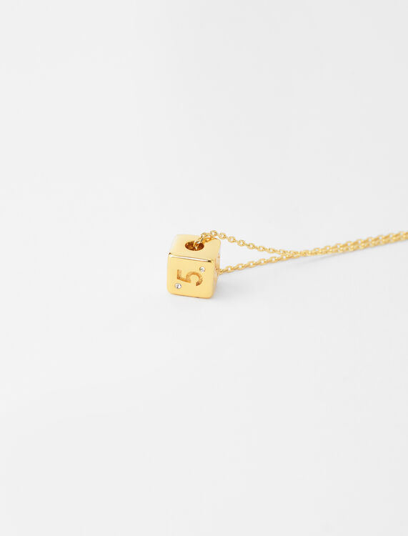 Number 5 dice necklace : Jewelry color Gold