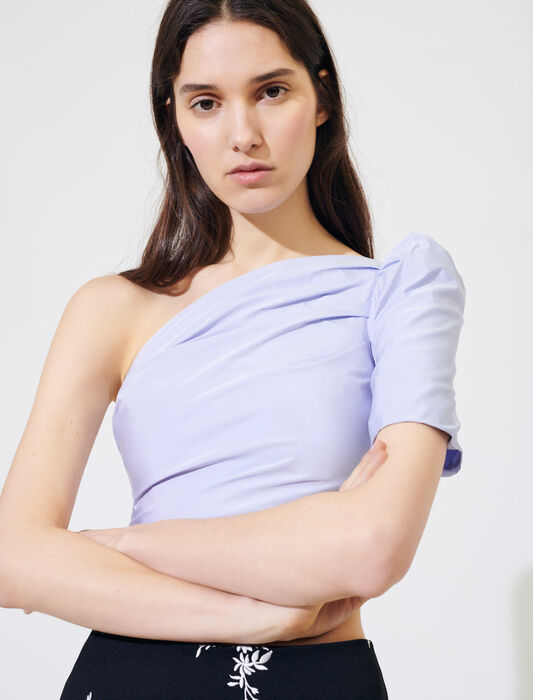 Asymmetric taffeta top : Tops color Lavender