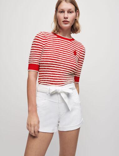 圆领不规则条纹针织衫 : 针织 顏色 蓝白条纹/Navy